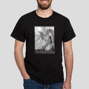 Dragon and Knight battle Black T-Shirt