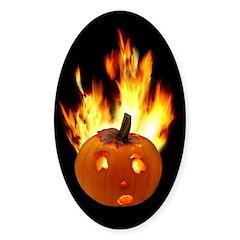 Flaming Pumpkin Sticker (Oval)