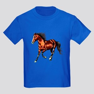 Cantering Bay Horse Kids Dark T-Shirt