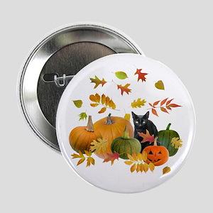 "Black Cat Pumpkins 2.25"" Button"
