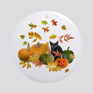 Black Cat Pumpkins Ornament (Round)