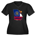 ILY Georgia Women's Plus Size V-Neck Dark T-Shirt