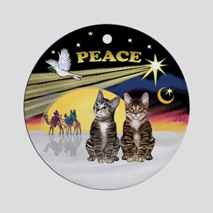 Xmas Dove - Two Brown Tabby Cats Ornament (Round)