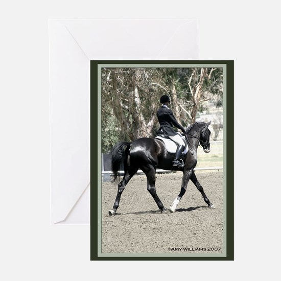 Black Dressage Horse Greeting Cards (Pk of 10)