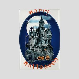 Haunted House_Happy Halloween Rectangle Magnet