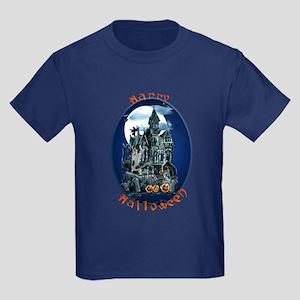 Haunted House_Happy Halloween Kids Dark T-Shirt