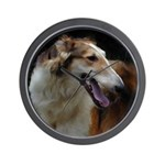 Red and White Borzoi Head Wall Clock