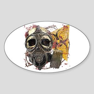 Biohazard Skull in Mask Sticker (Oval)