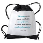 Change doesn't come from... Drawstring Bag