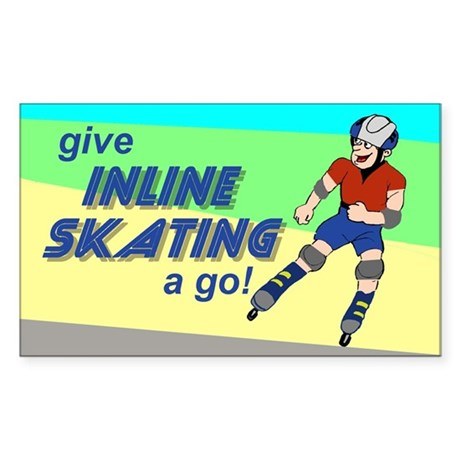 Give Inline Skating a go! Sticker (Rectangle)
