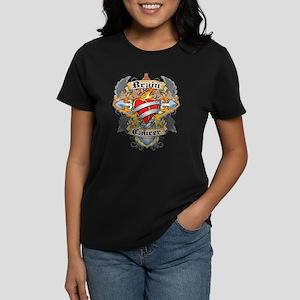 Brain Cancer Cross & Heart Women's Dark T-Shirt