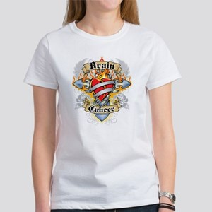 Brain Cancer Cross & Heart Women's T-Shirt