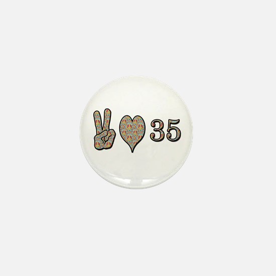 Cute Happy 35th birthday Mini Button