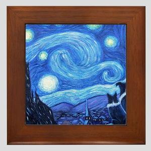 Starry Night Border Collies Framed Tile