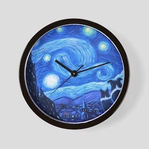 Starry Night Border Collies Wall Clock