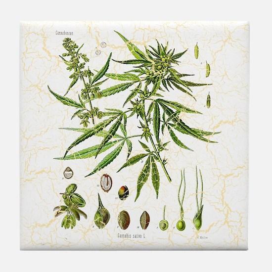 Crackled Cannabis Tile Coaster