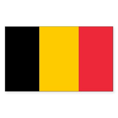 Belgian Flag Sticker (Rectangle)