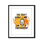 Firefighter Skull and Flames Framed Panel Print