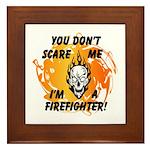 Firefighter Skull and Flames Framed Tile