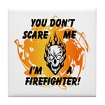 Firefighter Skull and Flames Tile Coaster