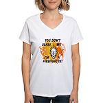 Firefighter Skull and Flames Women's V-Neck T-Shir