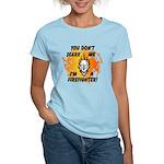 Firefighter Skull and Flames Women's Light T-Shirt