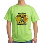 Firefighter Skull and Flames Green T-Shirt