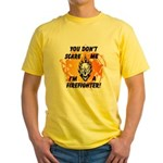 Firefighter Skull and Flames Yellow T-Shirt