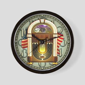 Jukebox & US Flag Design Wall Clock