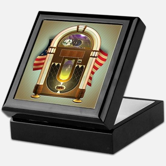 Jukebox & US Flag Design Keepsake Box