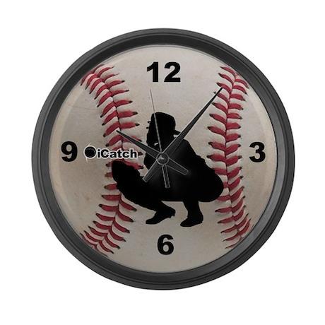 Baseball icatch Large Wall Clock