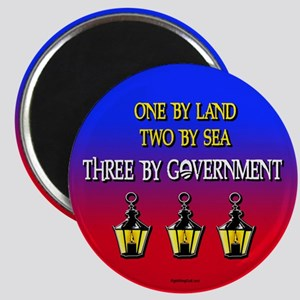 """Three if by Government 2.25"""" Magnet (10 pack)"""