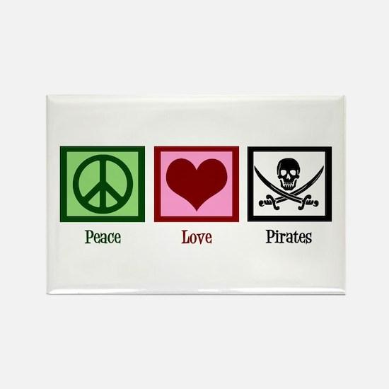Peace Love Pirates Rectangle Magnet