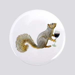 "Squirrel with Wine 3.5"" Button"