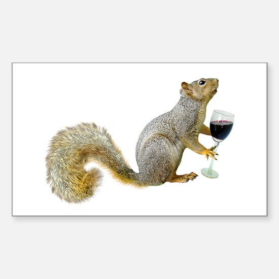Squirrel with Wine Sticker (Rectangle)