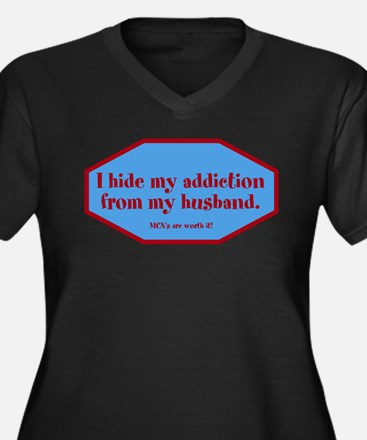 I hide my addiction from my h Women's Plus Size V-