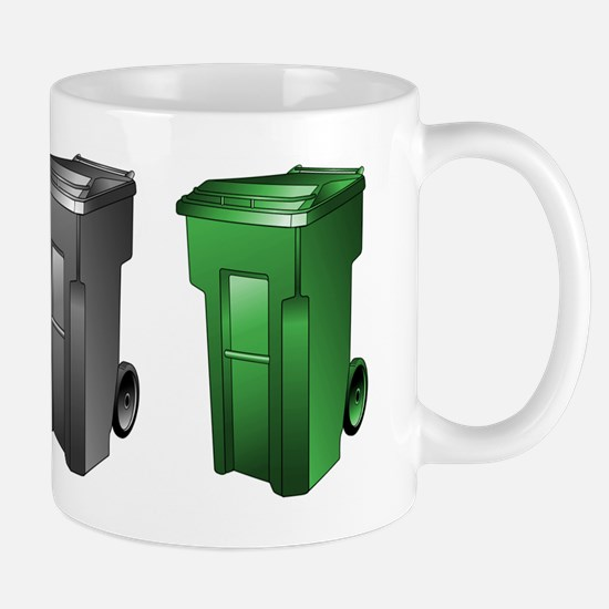 garbage_cans_black_blue_green Mugs