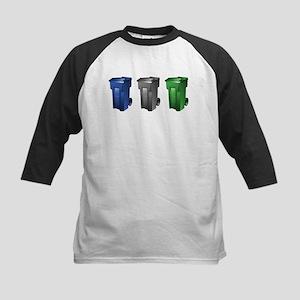 garbage_cans_black_blue_green Baseball Jersey