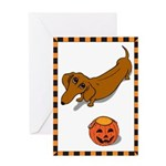 Got Treats Dachsie Halloween Greeting Card