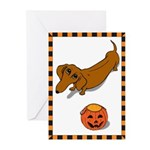 Got Treats Dachsie Halloween Greeting Cards (Pk of