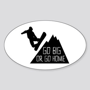 Go Big Snowboarder Sticker (Oval)