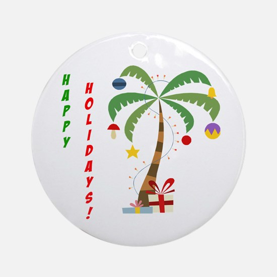 Holiday Palm Tree Ornament (Round)