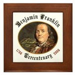 Benjamin Franklin Tercentenary Framed Tile
