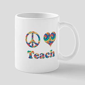 2-peace love teach copy Mugs
