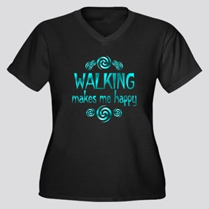 Walking Women's Plus Size V-Neck Dark T-Shirt