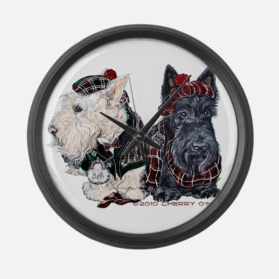 Scottish Highland Terriers Large Wall Clock