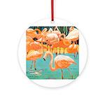 Flamingo Holiday Ornament (Round)