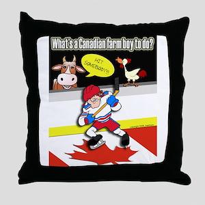 Hockey Farm Boy Throw Pillow