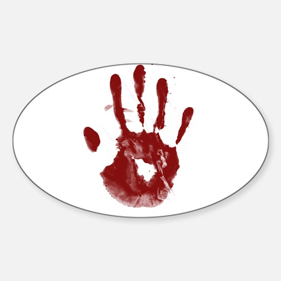 Bloody Handprint Sticker (Oval)