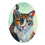 calico cat Ornament (Oval)